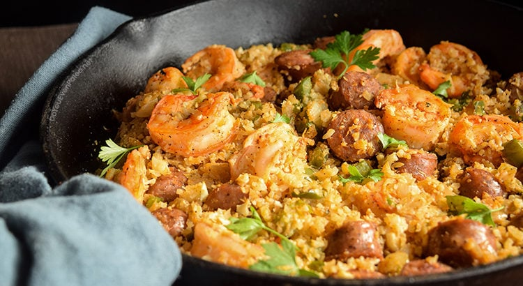 Shrimp, Sausage, and Caulirice Skillet | DoYouEvenPaleo.net