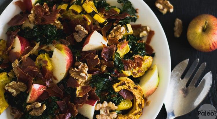 Warm Fall Harvest Salad with Kale, Delicata Squash, and Prosciutto | DoYouEvenPaleo.net