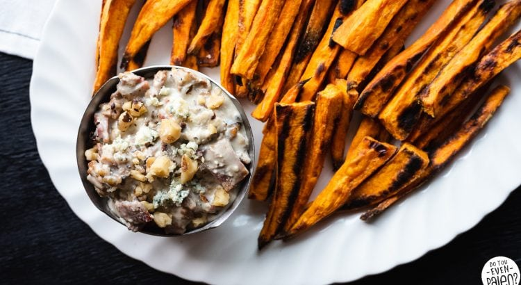 Sweet Potato Fries with Bacon Walnut Blue Cheese Dip Recipe | DoYouEvenPaleo.net