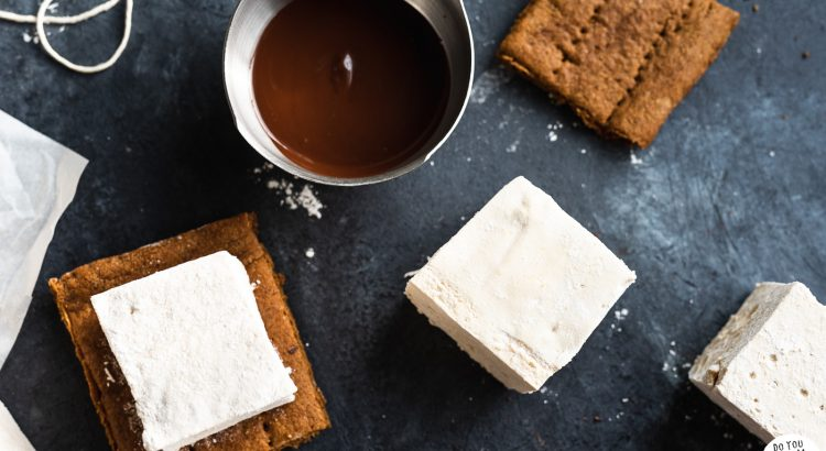 Homemade marshmallows, gluten free graham crackers, and a dish of melted chocolate