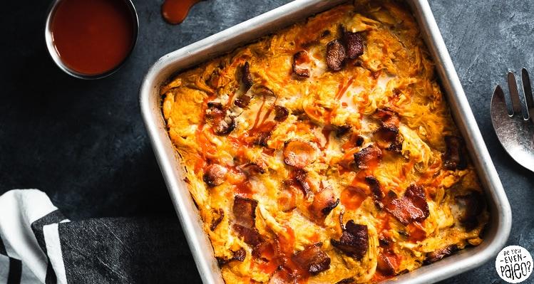 Baking pan with Bacon Buffalo Chicken Casserole recipe