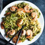 Whole30 Sesame Shrimp Scampi over Zucchini Noodles