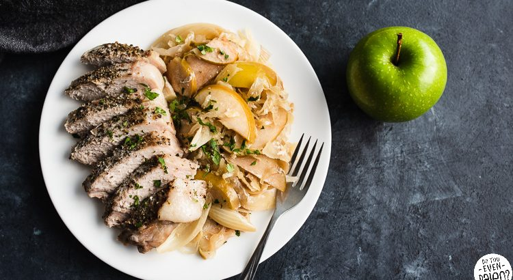 Paleo Slow Cooker Pork Chops with Apples, Onions, and Sauerkraut
