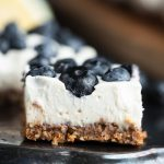 Closeup of no bake dairy free lemon blueberry cheesecake bar