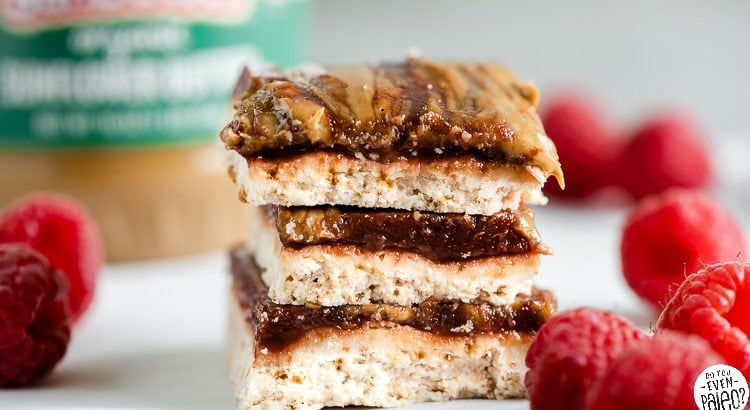 Closeup of a stack of SunButter and jelly bars