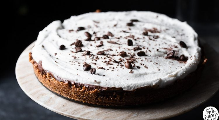 Mocha Avocado Cream Pie garnished with coffee beans and shaved chocolate