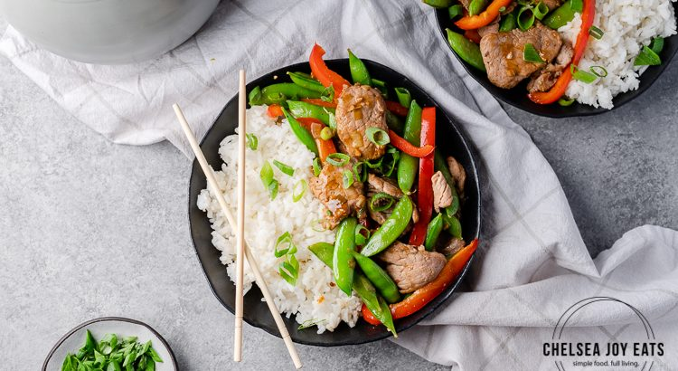Stir fry with rice on a dinner table