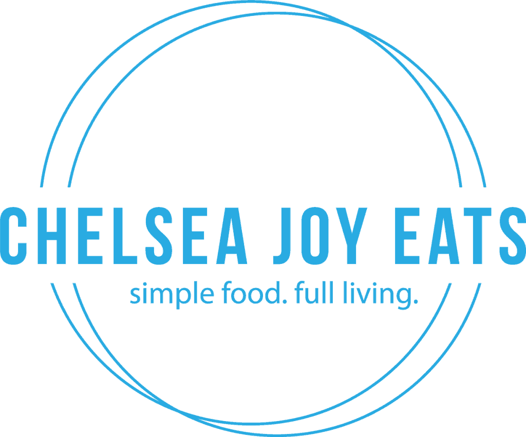 Logo for Chelsea Joy Eats - simple food, full living