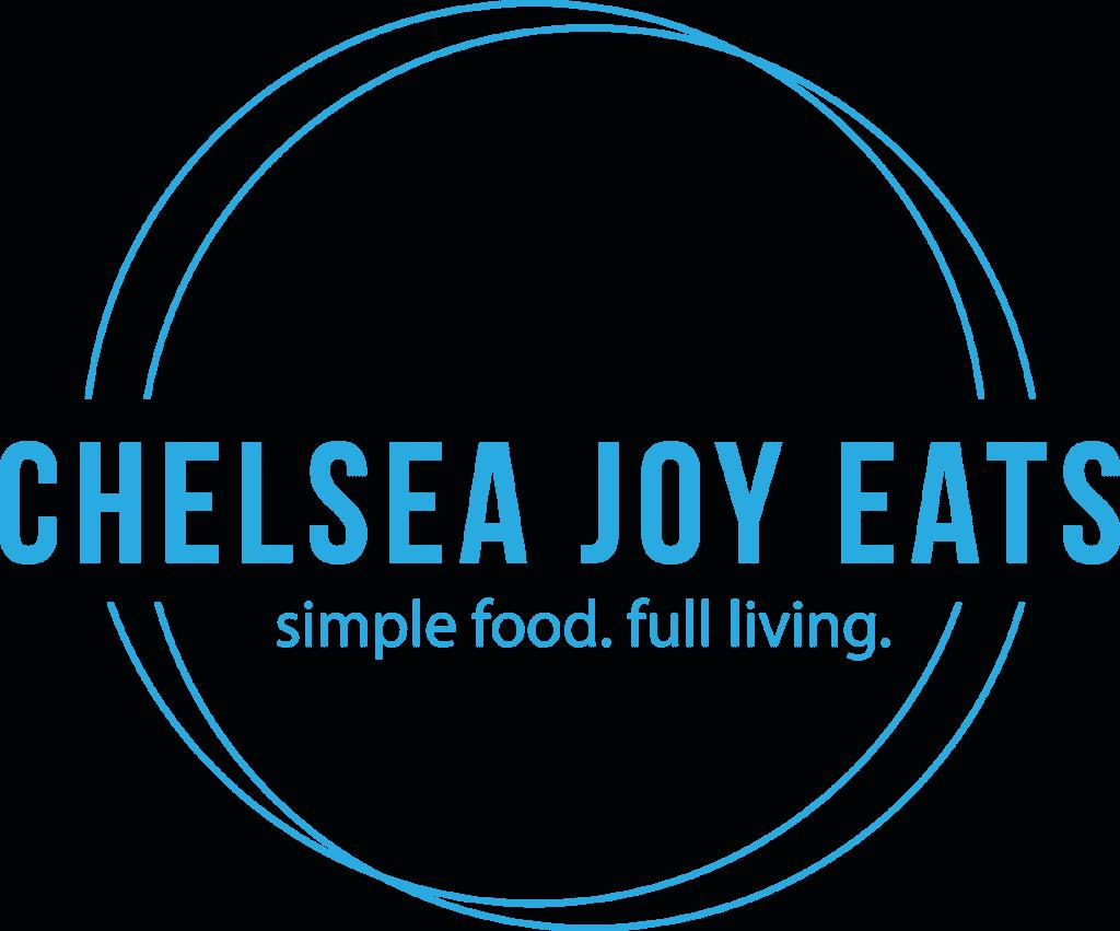 Logo for Chelsea Joy Eats - simple food, full living