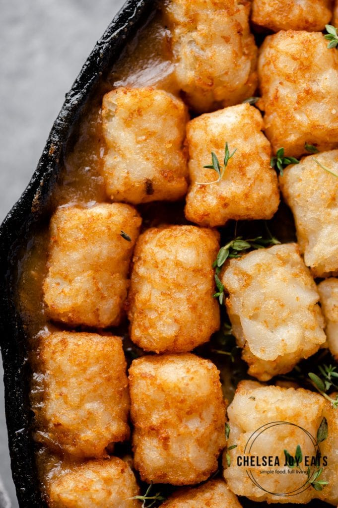 Closeup of the tater tots on top of tater tot casserole