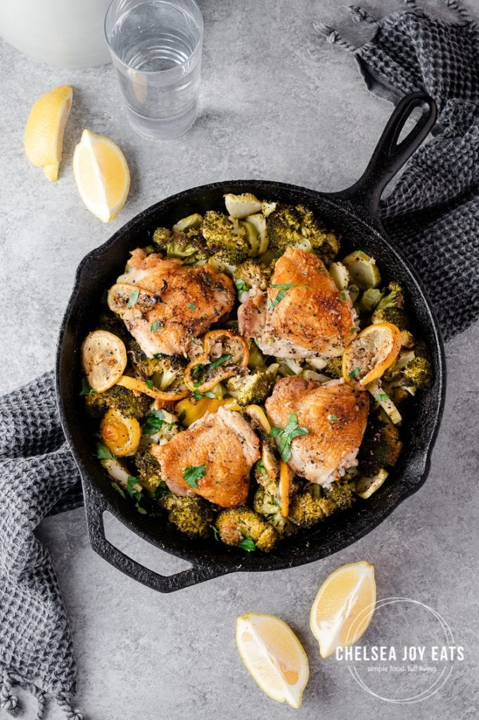 Bird's eye view of chicken & broccoli skillet