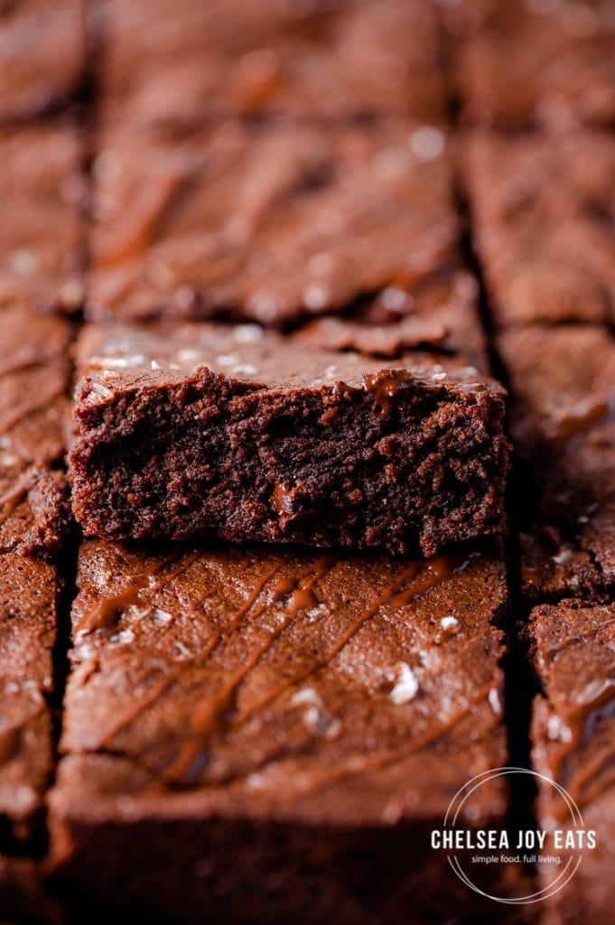 Closeup of a gluten free brownie