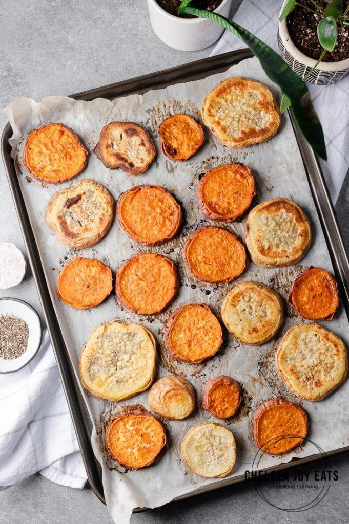 Roasted sweet potatoes on a baking sheet