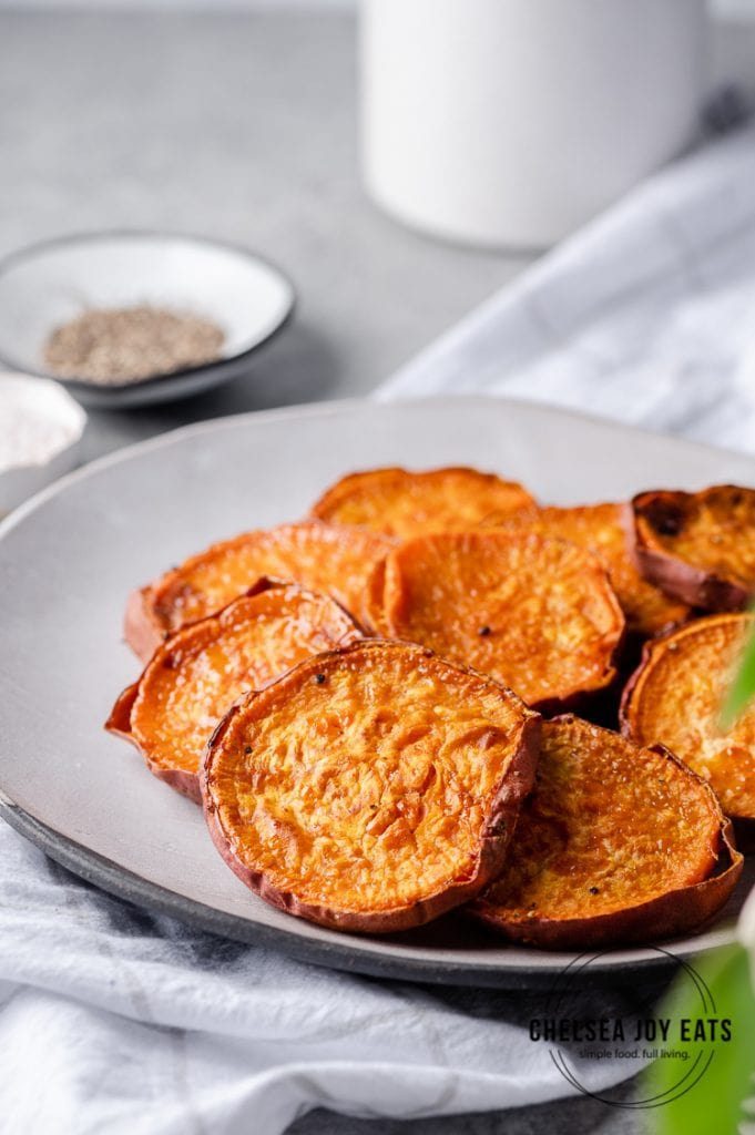 Roasted sweet potato rounds arranged on a plate