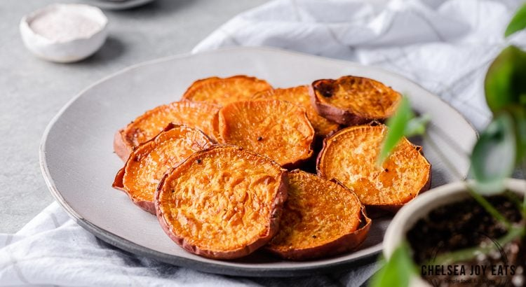 Roasted sweet potato slices arranged on a plate