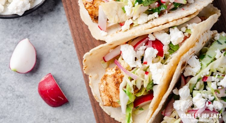 Closeup of walleye tacos with radish slaw