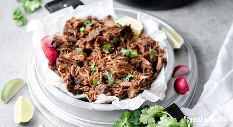 Tray full of pulled pork garnished with parsley and radishes