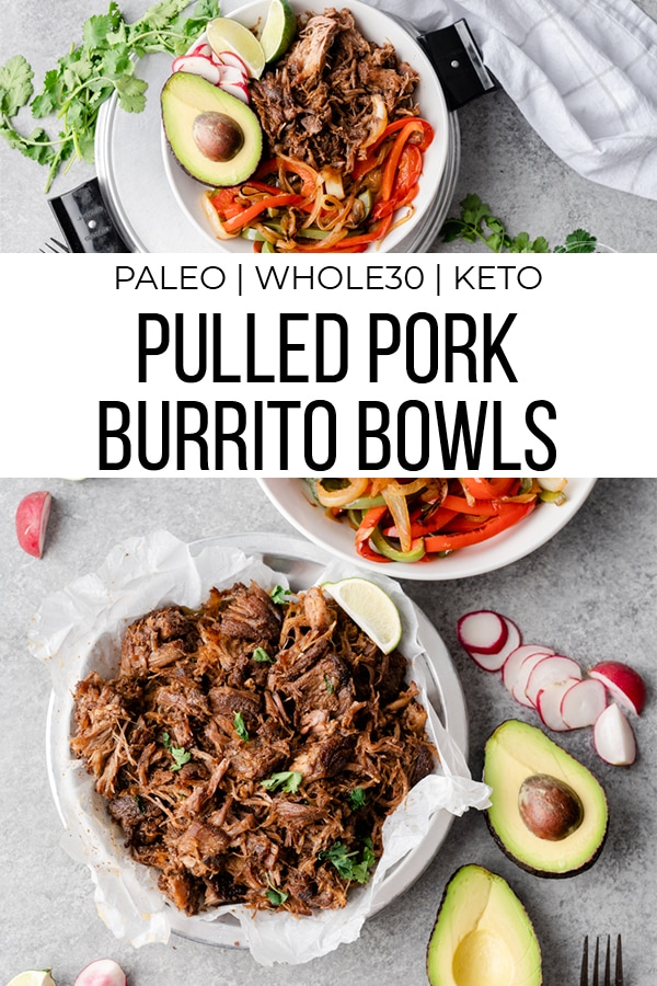 Pulled pork burrito bowls with text overlay