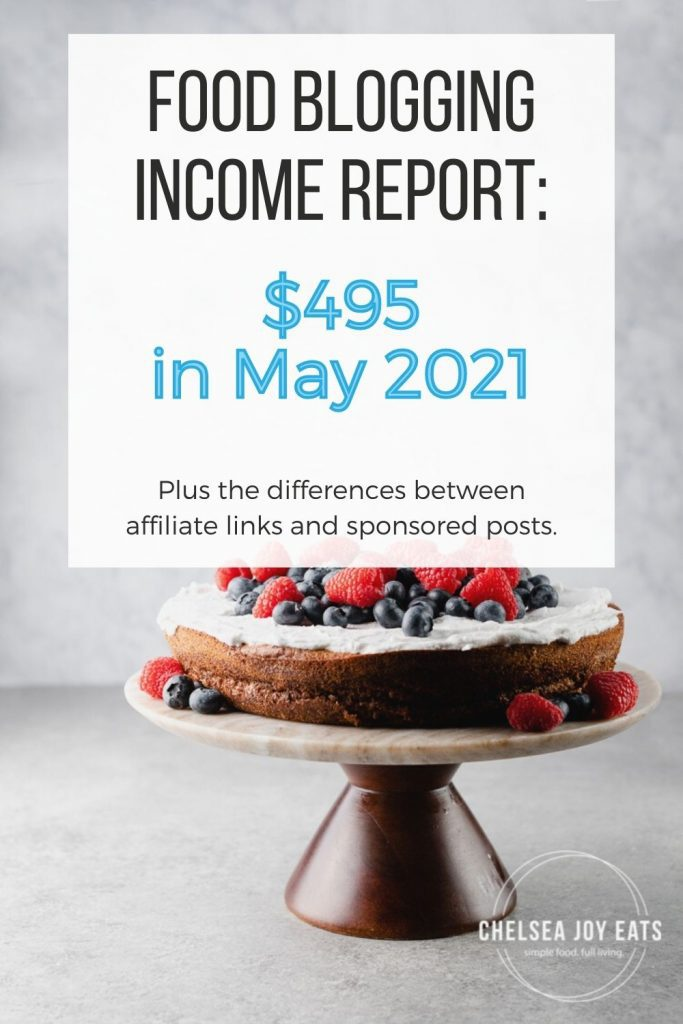 """Food blogging income report image with text overlay """"$495 in May 2021"""""""