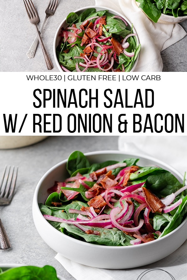 Spinach with bacon and red onion in a white ceramic bowl
