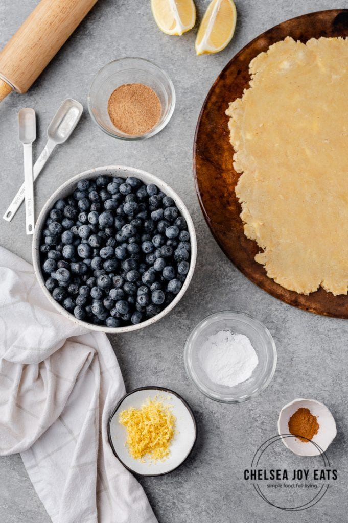 Ingredients for blueberry galette in bowls